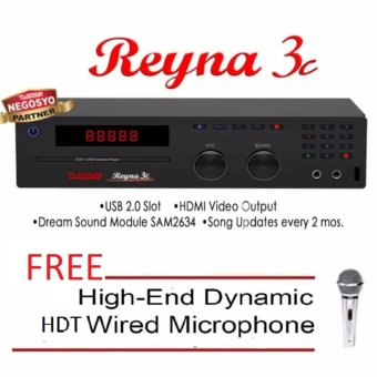 The Platinum Reyna 3c DVD Karaoke (Black) with Free High-End HDTWired Microphone