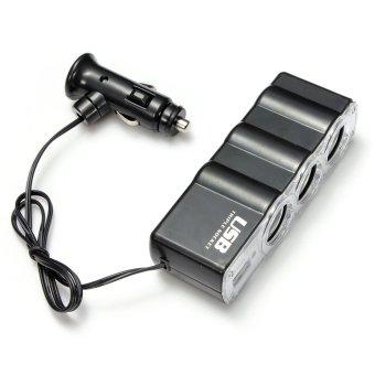 Triple USB Car Cigarette Lighter Socket Splitter Charger Adapter 12V 24V (Black) - 2