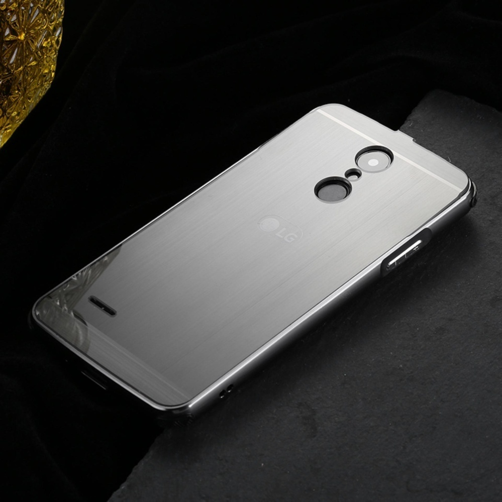 TY Metal Bumper Wire Drawing Back Cover Case For LG K10 2017 (