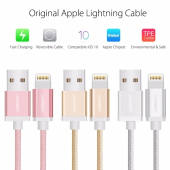 UGREEN Metal Alloy USB Lightning Cable USB Charger Cable NylonBradied Design for iPhone 4 5 6 7 iPad - Silver,1M - intl - 3