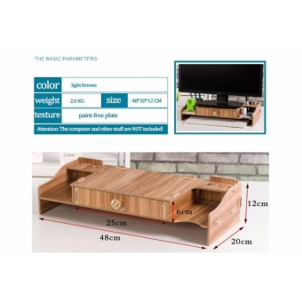 Ultralite Eco Friendly Wood Computer Monitor/ Laptop Riser Stand and Workspace Organizer with 1 Large Drawer - 5