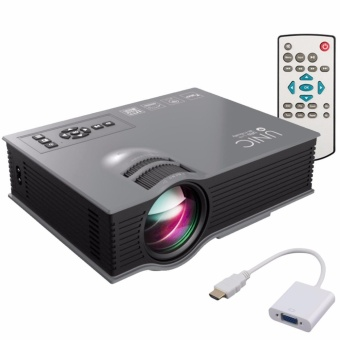Unic UC46 1200 Lumens WIFI Portable LED Projector (Black) with LHR VGA to HDMI Cable Adapter