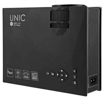 UNIC UC46 Mini Portable Projector with WIFI Connection (Black) withFree HDMI Cable