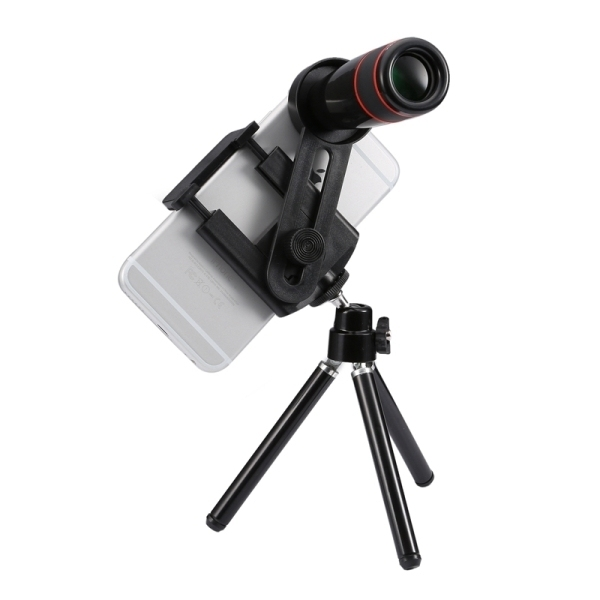 Universal 12x Zoom Optical Telescope Telephoto Camera Lens Kit for iPhone 6s and 6s Plus, iPhone 6 and 6 Plus, Samsung Galaxy S6 / S5, HTC, Sony, Suitable for Width as 5.5cm-8.5cm Mobile Phone(Black) - 2
