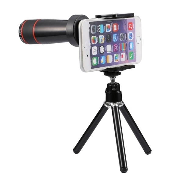 Universal 12x Zoom Optical Telescope Telephoto Camera Lens Kit for iPhone 6s and 6s Plus, iPhone 6 and 6 Plus, Samsung Galaxy S6 / S5, HTC, Sony, Suitable for Width as 5.5cm-8.5cm Mobile Phone(Black) - 3