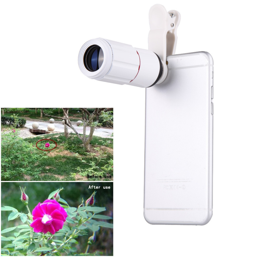Universal 8X Zoom HD Optical Lens Telescope for Mobile Phone(White)- intl