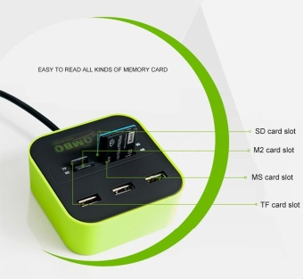 USB 2.0 hub Combo All In One Multi-card Reader with 3 Ports forMMC/M2/MS Blue Color - intl - 3