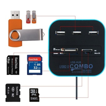 USB 2.0 hub Combo All In One Multi-card Reader with 3 Ports forMMC/M2/MS Blue Color - intl - 2
