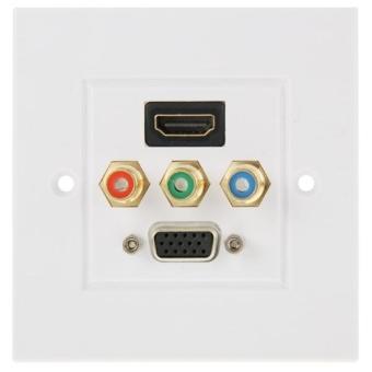 USB 3.0 Female Plug + 3 RCA Female Plugs + VGA Female Plug WallPlate Panel - intl ...