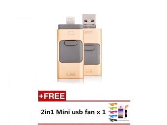 USB Flash Drive Phone OTG for iphone 7 6 6S 64gb Lightning to MetalPen Drive U Disk for iOS10 memory stick(Gold) - intl