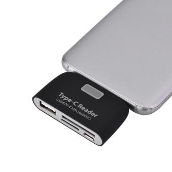 USB3.1 Type-C to USB 2.0 OTG Hub SD / TF Micro SD (HC) Card Readerwith Micro USB Port (Black) - intl - 3