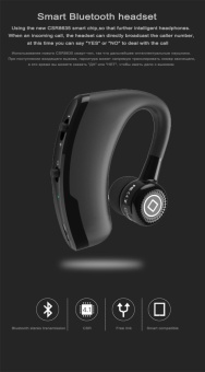 V9 Handsfree Business Bluetooth Headphone With Mic Voice Control Wireless Bluetooth Headset For Drive Noise Cancelling - Black - intl