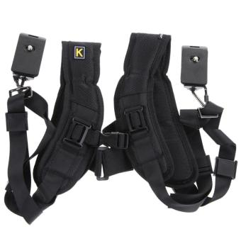VAKIND Quick Rapid Double Dual Shoulder Sling Belt Strap for TwoDSLR Digital Camera (Black) - intl - 5