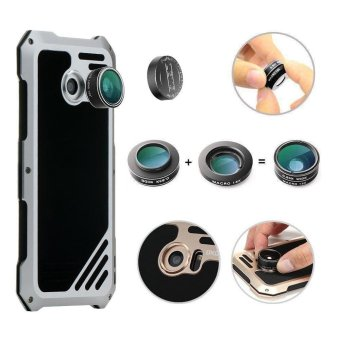 VIKING for Samsung Galaxy S7 edge G935 Shockproof Aluminum Case with 3 in 1 Camera Lens Kit - Silver - intl - 5