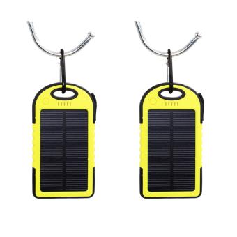 Waterproof Solar 5000mAh LED Power Bank Set of 2 (Yellow)