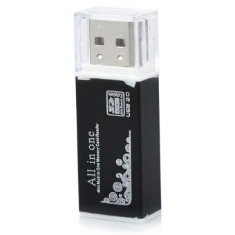 Wawawei WU-001 All In One Mini Multi USB 2.0 Micro SD SDHC TF MMCM2 MS Memory Card Reader with free Microbishi 7-in-1 Manicure Setwith Case (Dark Brown) - 2
