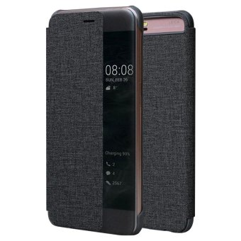 Window View Flip Cover PU Leather Hard Back Case for Huawei P10(Black) - intl