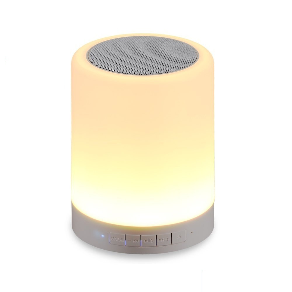 Wireless Bluetooth Speaker with Smart Touch LED Mood Lamp (White ...