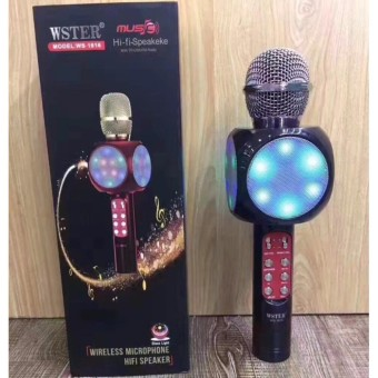 Wireless Microphone Hi-Fi Speaker Bluetooth Flash LED Lights Handheld Microphone KTV for Mobile Phones Computer WS1816