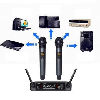 Wireless UHF Professional Microphone 2-Channel Dual LCD Handheld Mic System Kits US PLUG - intl - 3