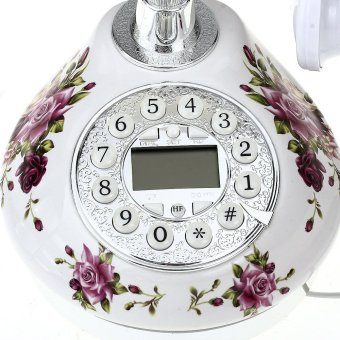 WiseBuy Retro Antique Style Resin Desk Telephone Phone PrintSilver+White Home Decor - 4