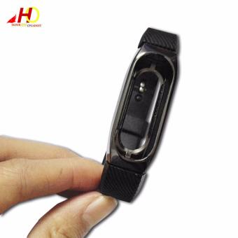 Wristband Band Strap + Metal Case Cover For Xiaomi Mi Band 2 Bracelet (Black) - 2