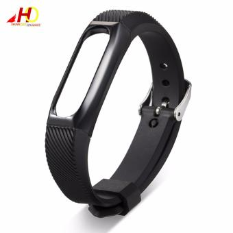 Wristband Band Strap + Metal Case Cover For Xiaomi Mi Band 2 Bracelet (Black) - 3
