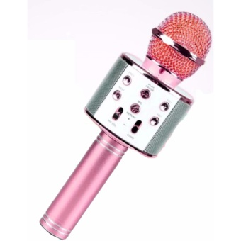 WS-858 NEW Karaoke Microphone and Wireless Bluetooth Hi-Fi Speaker (Pink)
