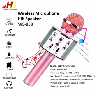 WS-858 Wireless Bluetooth Microphone MIC Recording Condenser Handheld Microphone Stand W/ Speaker WS858 for Mobile Phone Karaoke (Pink)