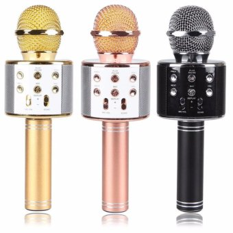 WS-858 Wireless Karaoke Bluetooth Microphone HIFI Speaker (Rose Gold) - 3