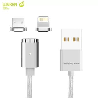 Wsken Mini 2 2 in 1 Nylon Braided Magnetic Cable, Lightning to USB Cable and Micro USB Cable, Sync and Fast Charge Cable for Apple iPhone Ipad and Android (Silver)