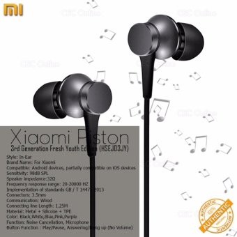 Xiaomi Mi Piston 3 Fresh Youth Version In-Ear Stereo EarphoneHeadphones Authentic (Matte Black