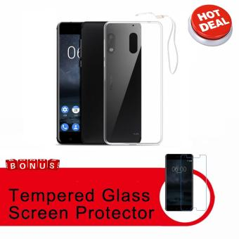 Xundd Slim Silicone Case with Lanyard for Nokia 6 (Clear) with FREETempered Glass Screen Protector (Clear)
