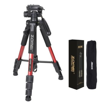 ZOMEI Q111 55-Inch Professional Aluminium Camera Tripod CamcorderStand with PanHead Plate for DSLR Canon Nikon Sony DV Video (Red)