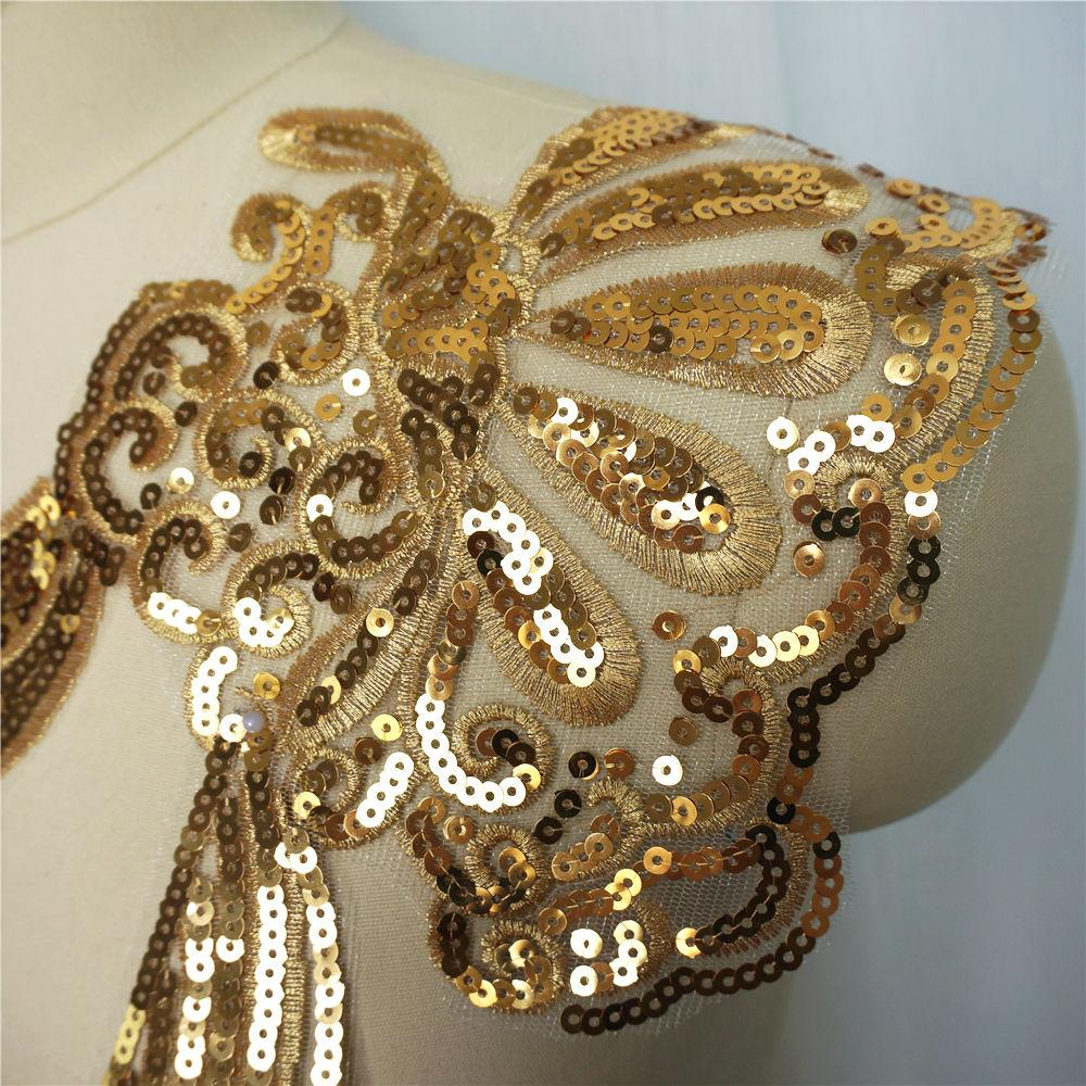 Sale  Sequined Smile Sun Lace Patch Embroidery Cloth Home Collar Cloth Patch