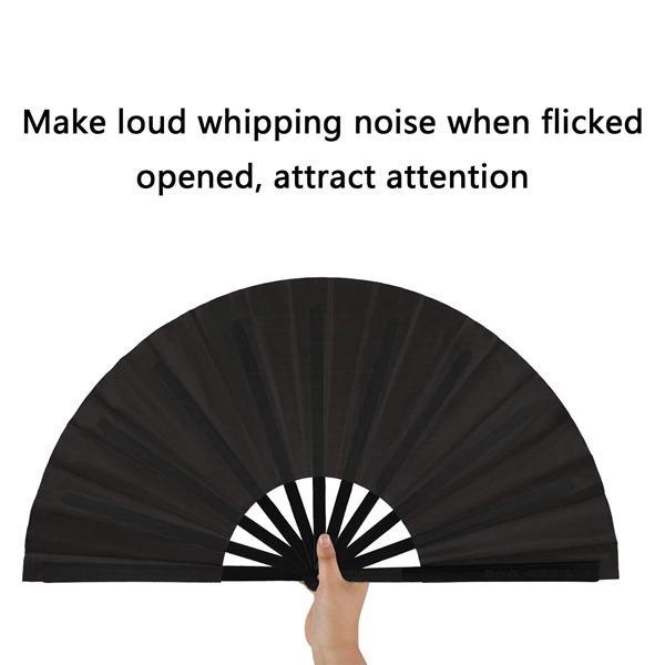 2 Pieces Large Folding Fan Nylon Cloth Handheld Folding Fan Chinese Kung Fu  Tai Chi Fan Black Decoration Fold Hand Fan For Party Favors