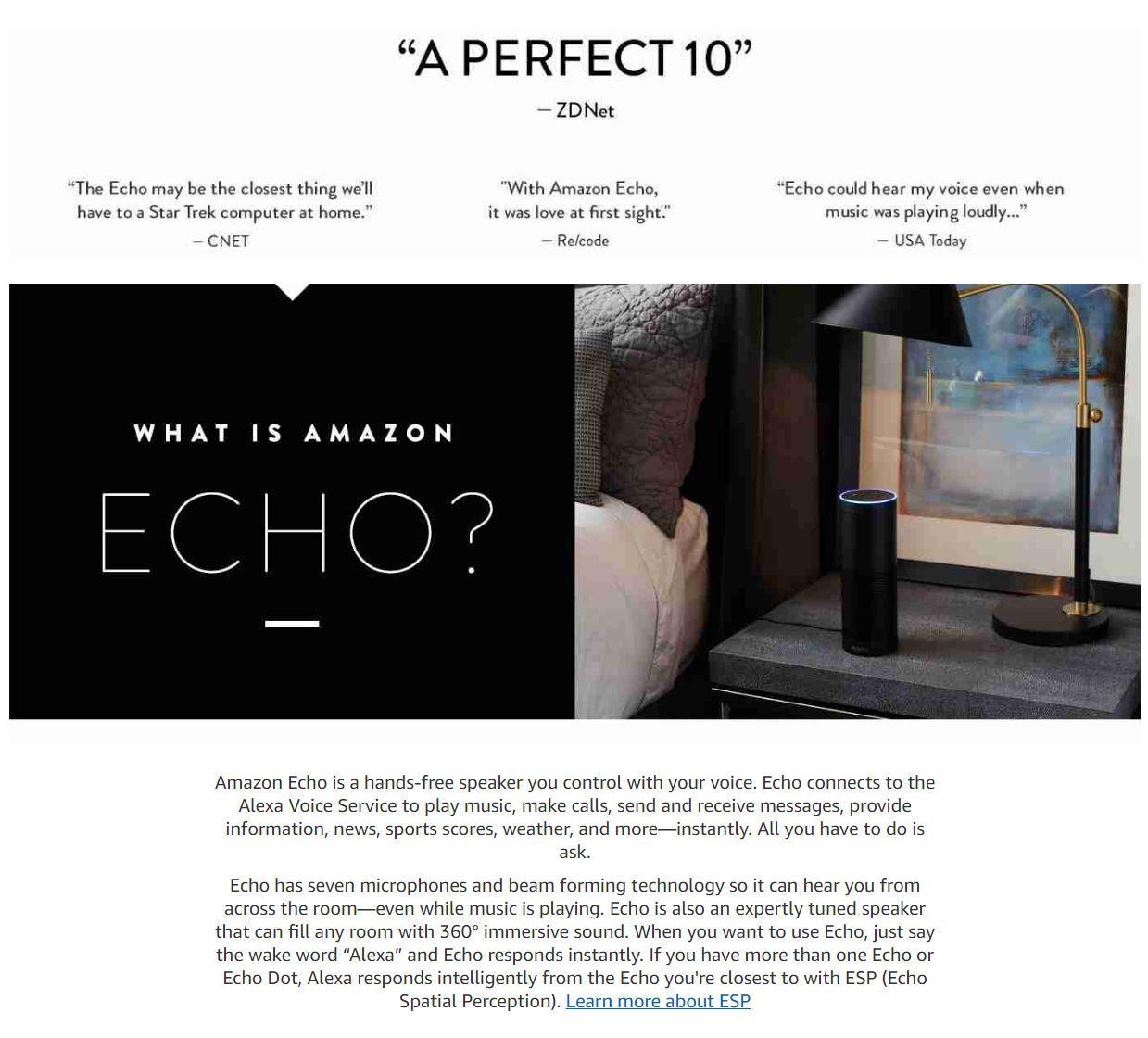 Amazon Echo - Smart Speaker with Alexa 1st Generation