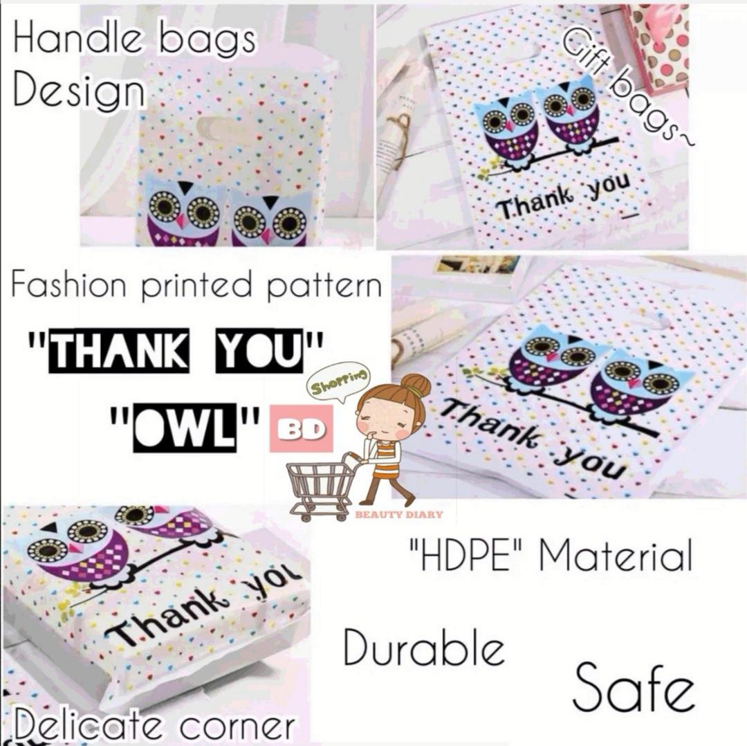 Bd 100pcs Cartoon Owl Pattern Gift Bag Printed Lovely Plastic Bags Handle Packaging Pouch Clothing Bag Cosmetic Bag Jewelry Bag Lazada Ph