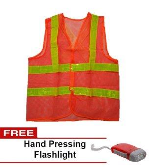 #007 Reflector Vest Orange with Free Hand Pressing Flashlight