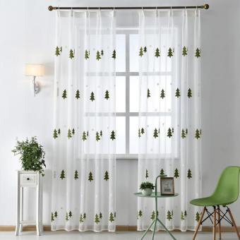 1 PCS 150X270 Drapes window tree embroidered sheer room voile living tulle curtain Christmas fabrics modern White - intl