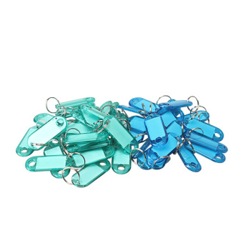 100 Pcs Colorful Clear Plastic Key Tags ID Label with Key Chain TagCard Split Ring (Intl) - 3