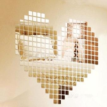 100 Piece Mirror Wall Sticker 3D Decal Mosaic Room Decor StickModern - intl - 2