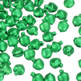 100Pcs Colorful Iron Loose Beads Christmas Jingle Bells Pendants Charms 8x6mm Green - picture 3