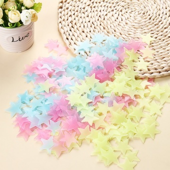 100PCS Colorful Luminous Home Glow In The Dark Stars Wall Stickers- intl