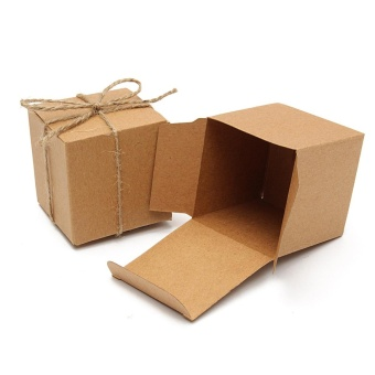 100pcs Kraft Brown Vintage Square Candy Gift Boxes Wedding Birthday Party Favor - intl