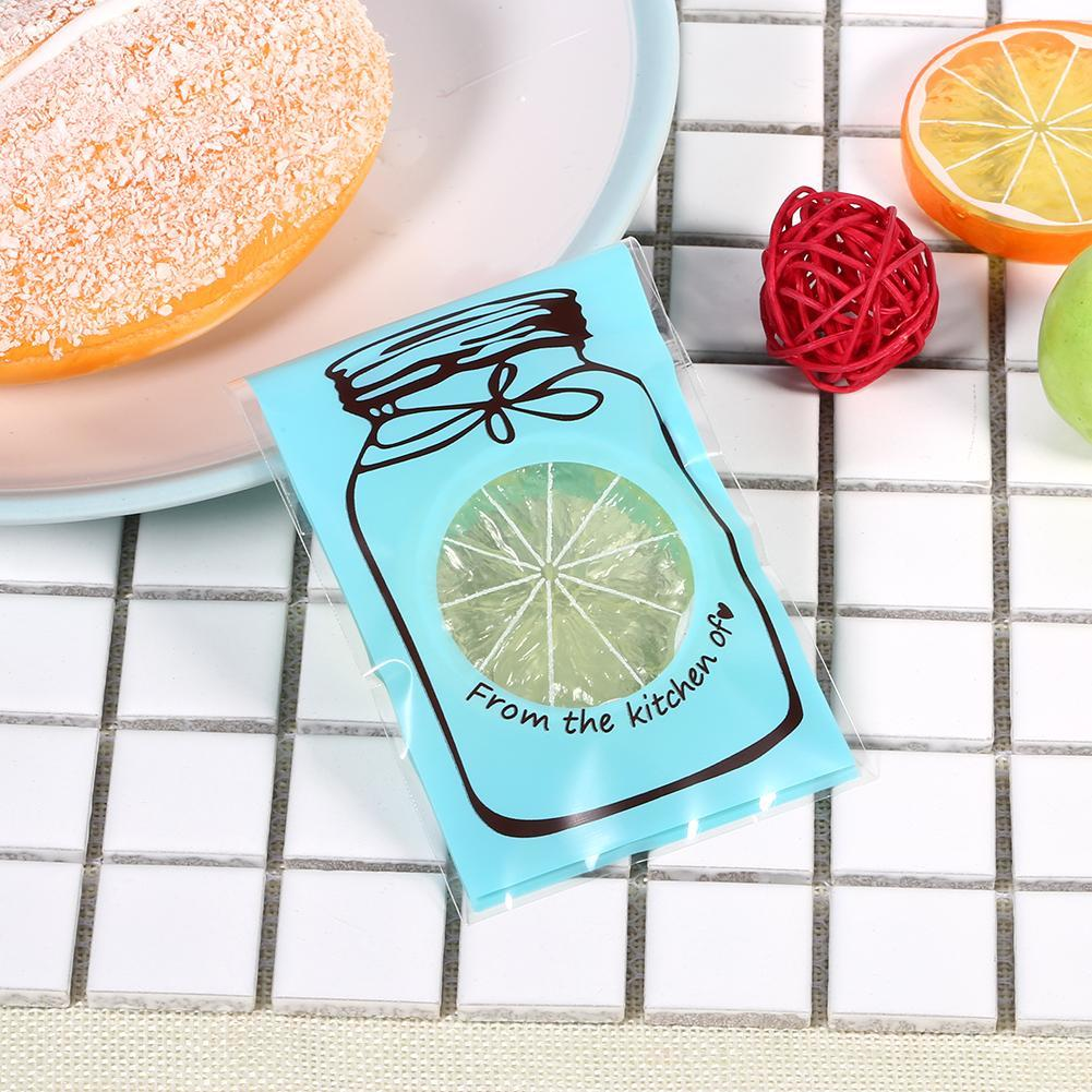 100pcs Lovely Plastic Candy Biscuit Gift Packaging Bag(Blue) - intl ...