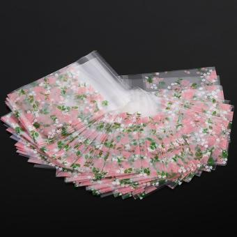 100Pcs Plastic Cookie Biscuit Candy Packing Bag (Rose 7 x 7cm) - intl - 2