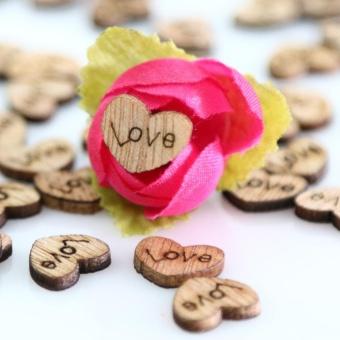100pcs Rustic Wedding Guest Book Wooden Heart Shapes Embellishments- intl - 3