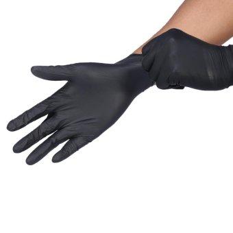 100Pcs/Box Tattoo Nitrile Disposable Latex Gloves Black S - intl - 3