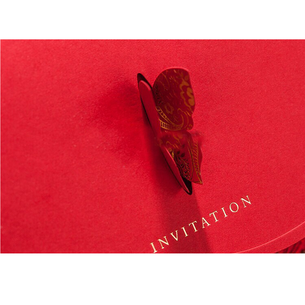 Philippines | 100pcs/lot 3D Laser-Cut Red Stereo Butterfly ...